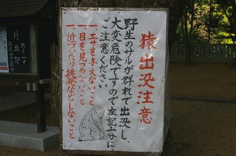 猿注意の看板