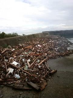 台風後の櫛木海岸西側(波止の上)