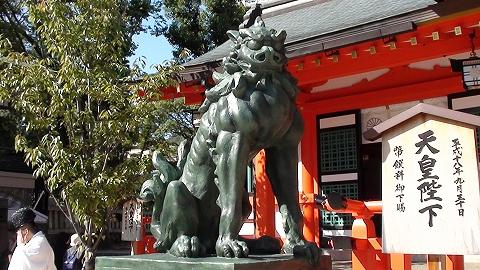 拝殿前 狛犬 吽