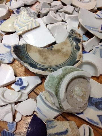 江戸陶片と青磁